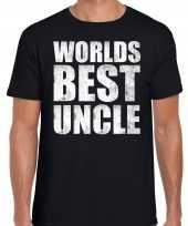 Worlds best uncle oom kado t-shirt zwart voor heren cadeau shirt verjaardag
