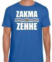 Zeeuws dialect-shirt zakma zehhe met zeelandse vlag blauw voor heren