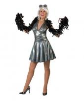Zilveren disco seventies rok met-shirt voor dames