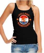 Zwart fan tanktop kleding holland kampioen met oranje leeuw ek wk voor dames