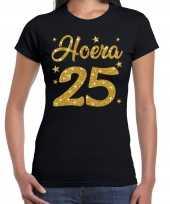 Zwart hoera 25 jaar verjaardag jubileum t-shirt voor dames met gouden glitter bedrukking