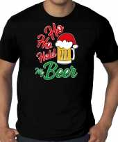 Zwart kerst-shirt kerstkleding ho ho hold my beer voor heren grote maten
