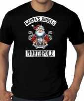 Zwart kerstshirt kerstkleding santas angels northpole voor heren grote maten