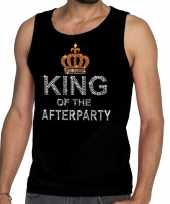 Zwart king of the afterparty glitter steentjes tanktop heren