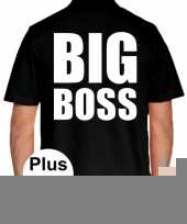 Zwart plus size big boss polo t-shirt voor heren