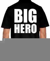 Zwart plus size big hero polo t-shirt voor heren