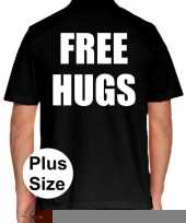 Zwart plus size free hugs polo t-shirt voor heren