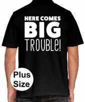 Zwart plus size here comes big trouble polo t-shirt voor heren