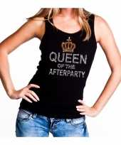 Zwart queen of the afterparty glitter steentjes tanktop dames