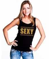 Zwart sexy singlet tanktop in gouden glitter letters dames