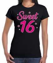 Zwart sweet 16 verjaardags kado t-shirt voor dames