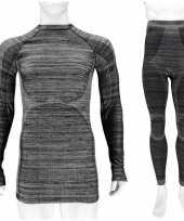 Zwarte melange thermo kleding set-shirt lange mouw en broek ondergoed voor heren maat xl