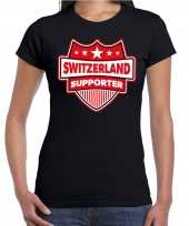 Zwitserland switzerland supporter t shirt zwart voor dames